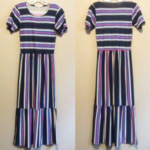 Velvet Torch Striped Dress- XS